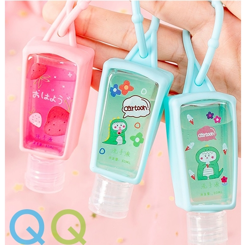 QQ 30ml Refillable Hand Sanitizer Portable Liquid Soap Wash-free Hand Cleaning Gel with Keychain Silicone Sleeve